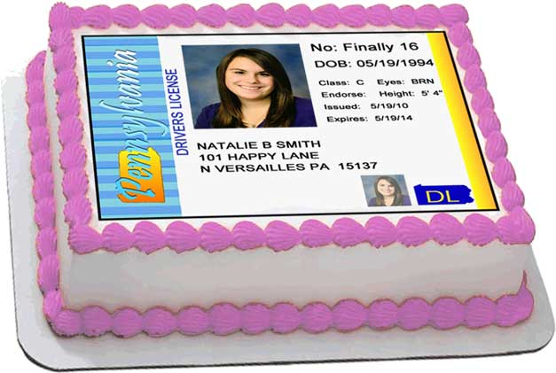 Pennsylvania Driver's License Cake Top Decorations